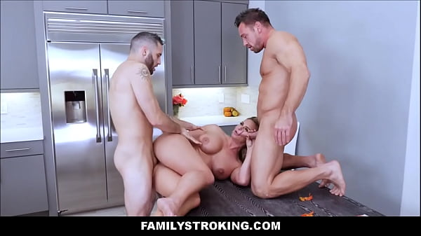 Threesome, Stepmom and son, Milf son, Father and son